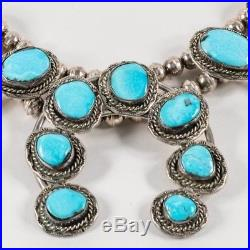 Vintage Native American Sterling Silver & Turquoise Squash Blossom Necklace