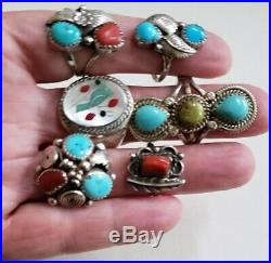 Vintage Native American Sterling Silver Turquoise and Coral Ring Lot