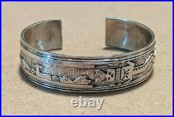 Vintage Native American Sterling Silver Yei Dancer Pottery Story Bracelet Navajo