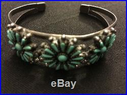 Vintage Native American Turquoise & 925 Sterling Silver Cuff