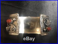 Vintage Native American Turquoise And Coral Sterling Silver Watch Cuff Bracelet