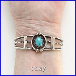 Vintage Native American Turquoise Cuff Bracelet Sterling Silver Tested Navajo