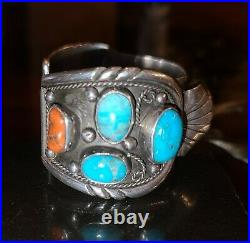 Vintage Native American Turquoise Sterling Silver Cuff Bracelet Signed