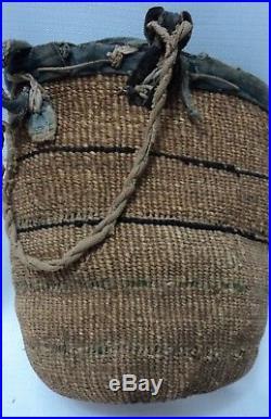 Vintage Native American Wasco Twined Sally Bag Basket