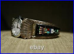 Vintage Native American Zuni Micro Inlay Sterling Silver Watch Cuff Bracelet