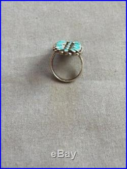 Vintage Native American Zuni Petit Point Turquoise Ring Size 7 3/4