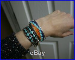 Vintage Native American Zuni Turquoise Lapis Sterling Silver Cuff Bracelet