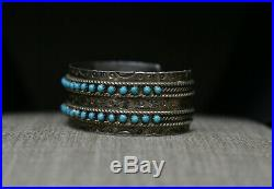 Vintage Native American Zuni Turquoise Snake Eye Sterling Silver Cuff Bracelet