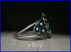 Vintage Native American Zuni Turquoise Sterling Silver Cluster Cuff Bracelet