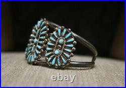 Vintage Native American Zuni Turquoise Sterling Silver Cluster Cuff Bracelet