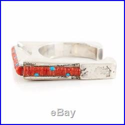 Vintage Native Hopi Sterling Silver Corn Maize Row Turquoise Coral Cuff Bracelet