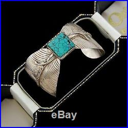Vintage Native Navajo Sterling Silver #8 Turquoise Acoya Feather Cuff Bracelet