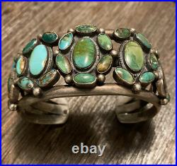 Vintage Native Navajo Sterling Turquoise Heavy Cuff Bracelet