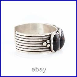 Vintage Native Pueblo Sterling Silver Sam Lovato Petrified Wood Cuff Bracelet