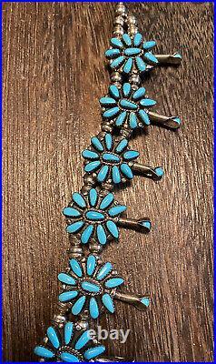 Vintage Native Zuni Sterling Petit Point Squash Blossom Turquoise Necklace