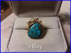 Vintage Navajo 14k Yellow Gold Gem Grade Morenci Turquoise Ring 6