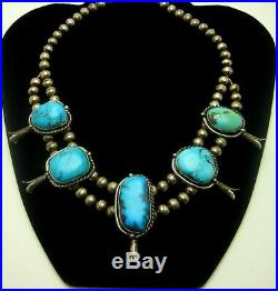 Vintage Navajo 16 Silver & Turquoise 5 Drop Squash Blossom Choker Necklace