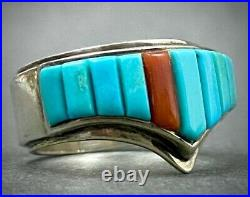 Vintage Navajo Cathy Webster Sterling Silver Turquoise Cornrow Inlay Ring MINT
