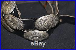 Vintage Navajo Concho Belt Sterling 11 Conchos And Buckle, Black Leather Signed