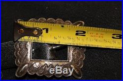 Vintage Navajo Concho Belt Sterling 21 Conchos And Buckle, Black Leather Signed