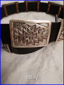 Vintage Navajo Concho Belt Sterling Silver Signed B