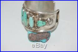 Vintage Navajo Cuff Bracelet, Hachita New Mexico Turquoise, Sterling