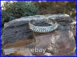 Vintage Navajo Cuff Bracelet Turquoise Sterling Silver Jewelry SouthWest sz 6.75