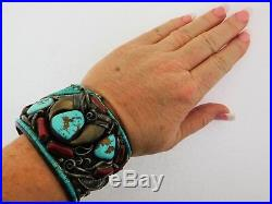 Vintage Navajo Darrell Victor Bear Claw Turquoise Red Coral. 925 Cuff 223g
