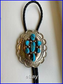 Vintage Navajo EUC Sterling Silver Turquoise Bolo Tie 60 gm