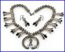 Vintage Navajo Eugene Becenti Sterling Silver Squash Blossom Necklace & Earrings