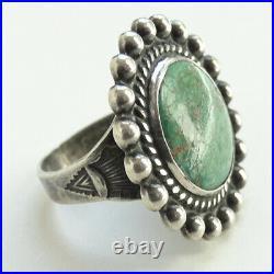 Vintage Navajo Fred Harvey Era Natural Turquoise Ring Size 7 Stamp Decoration
