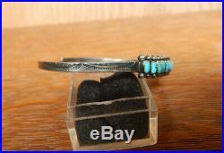 Vintage Navajo Fred Harvey Era Sterling Silver Row Turquoise Cuff Bracelet