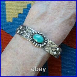 Vintage Navajo Fred Harvey Era Turquoise Cuff Bracelet Stamp Decorated Raindrops