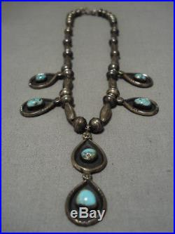 Vintage Navajo Green Turquoise Sterling Silver Native American Necklace