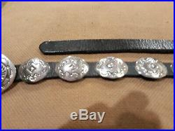 Vintage Navajo Hand Stamped Sterling Silver Concho & Leather Belt 19 Conchos