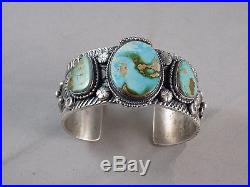 Vintage Navajo Handmade Royston Turquoise 3 Stone Bracelet In Sterling Silver