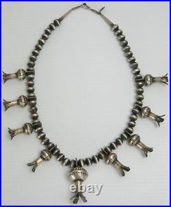 Vintage Navajo Huge Sterling Silver Squash Blossom 28 Necklace Derrick Cadman