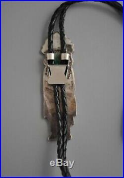 Vintage Navajo Indian Bolo Tie 3.5 Tall Silver Inlay Kachina