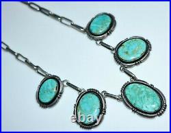 Vintage Navajo Indian JOE DELGARITO Blue Green Turquoise Festoon Necklace