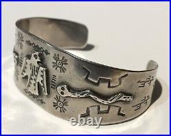 Vintage Navajo Indian Silver Thunderbird & Snakes Cuff Bracelet