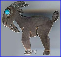 Vintage Navajo Indian Silver Turquoise Eye Billy Goat Pin Brooch