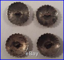 Vintage Navajo Indian Sterling Silver Concho Stampworks Buttons Set of 4