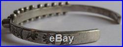 Vintage Navajo Indian Sterling Silver Turquoise Snake Eye Row Cuff Bracelet