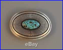 Vintage Navajo Indian Thick Silver Belt Buckle Beautiful Turquoise Gibson Nez