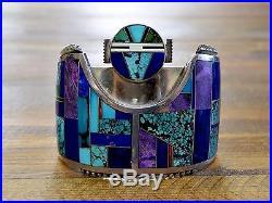 Vintage Navajo Multi-Stone Inlay Sunface Kachina Sterling Silver Cuff Bracelet