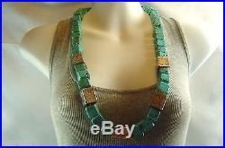 Vintage Navajo NANCY CUSTER Huge Turquoise Sterling Silver Heishi Bead Necklace