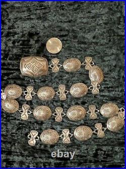 Vintage Navajo Native American Sterling Silver Concho Belt