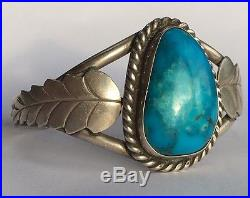 Vintage Navajo Native American Sterling Silver Deep Blue Turquoise Cuff Bracelet