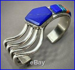 Vintage Navajo Native American Sterling Silver Multi Stone Inlay Cuff Bracelet