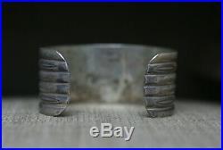 Vintage Navajo Native American Sterling Silver Stamped Cuff Bracelet